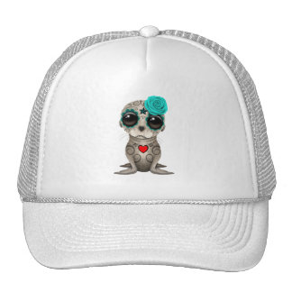 Blue Day of the Dead Baby Sea Lion Trucker Hat
