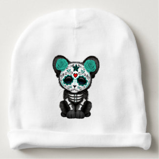 Blue Day of the Dead Black Panther Cub Baby Beanie