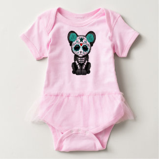 Blue Day of the Dead Black Panther Cub Baby Bodysuit