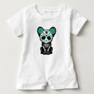 Blue Day of the Dead Black Panther Cub Baby Romper