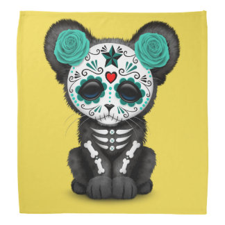 Blue Day of the Dead Black Panther Cub Bandana