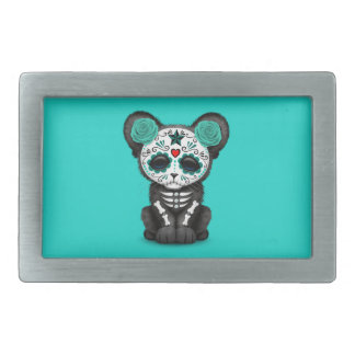 Blue Day of the Dead Black Panther Cub Belt Buckle
