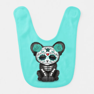 Blue Day of the Dead Black Panther Cub Bib