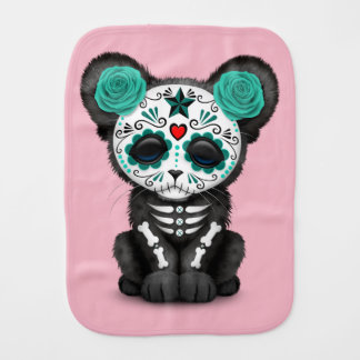 Blue Day of the Dead Black Panther Cub Burp Cloth