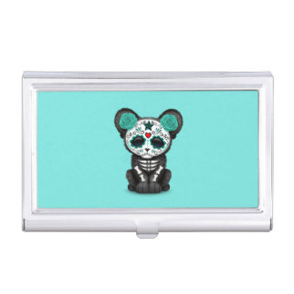 Blue Day of the Dead Black Panther Cub Business Card Holder