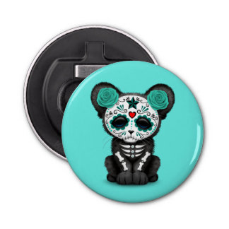 Blue Day of the Dead Black Panther Cub Button Bottle Opener