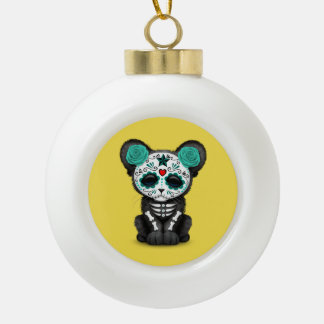 Blue Day of the Dead Black Panther Cub Ceramic Ball Christmas Ornament