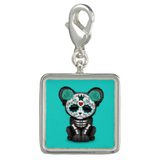 Blue Day of the Dead Black Panther Cub Charm