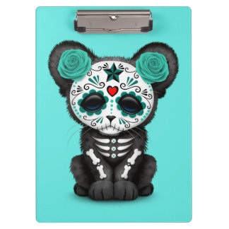 Blue Day of the Dead Black Panther Cub Clipboard