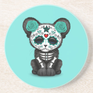 Blue Day of the Dead Black Panther Cub Coaster