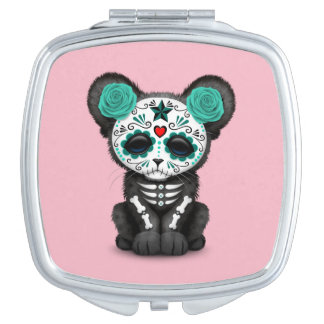 Blue Day of the Dead Black Panther Cub Compact Mirror