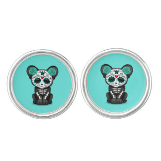 Blue Day of the Dead Black Panther Cub Cuff Links