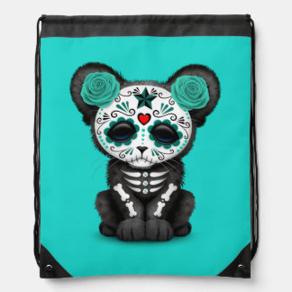 Blue Day of the Dead Black Panther Cub Drawstring Bag