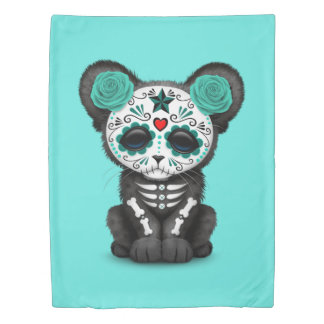 Blue Day of the Dead Black Panther Cub Duvet Cover