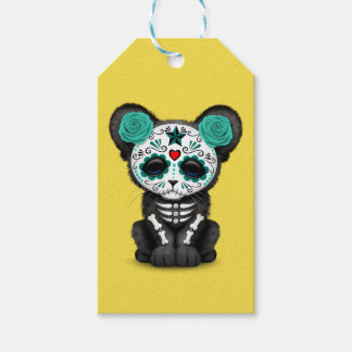 Blue Day of the Dead Black Panther Cub Gift Tags
