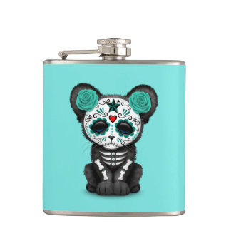 Blue Day of the Dead Black Panther Cub Hip Flask
