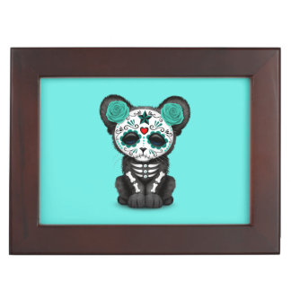 Blue Day of the Dead Black Panther Cub Keepsake Box