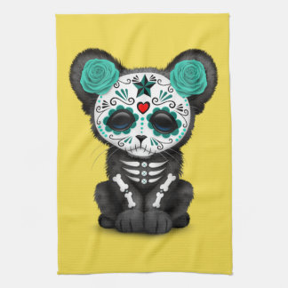 Blue Day of the Dead Black Panther Cub Kitchen Towel