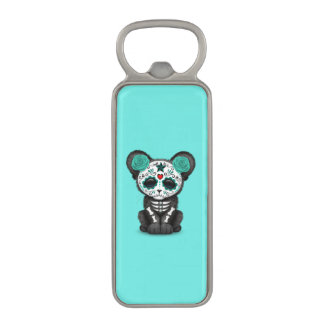 Blue Day of the Dead Black Panther Cub Magnetic Bottle Opener