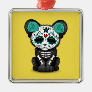 Blue Day of the Dead Black Panther Cub Metal Ornament