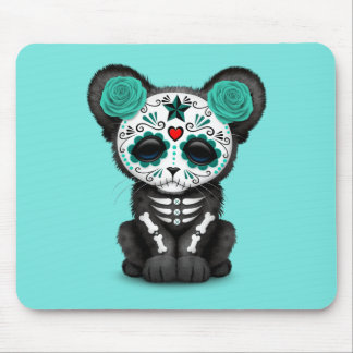 Blue Day of the Dead Black Panther Cub Mouse Pad
