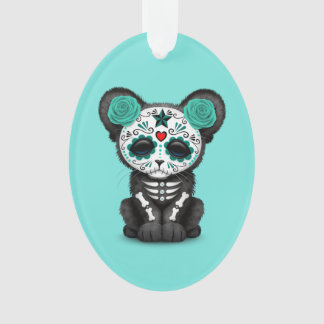 Blue Day of the Dead Black Panther Cub Ornament