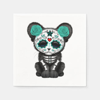 Blue Day of the Dead Black Panther Cub Paper Napkin