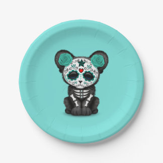 Blue Day of the Dead Black Panther Cub Paper Plate
