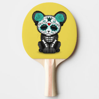 Blue Day of the Dead Black Panther Cub Ping Pong Paddle
