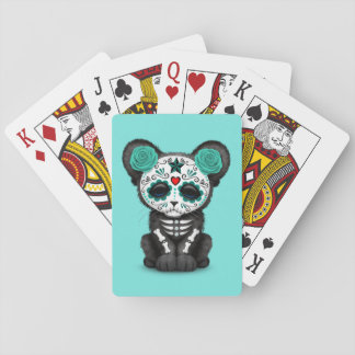 Blue Day of the Dead Black Panther Cub Playing Cards