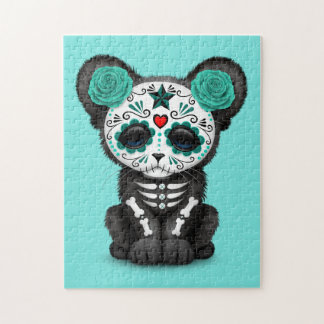 Blue Day of the Dead Black Panther Cub Puzzles