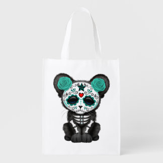 Blue Day of the Dead Black Panther Cub Reusable Grocery Bag