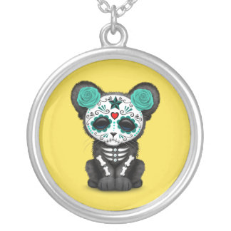 Blue Day of the Dead Black Panther Cub Silver Plated Necklace