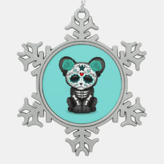 Blue Day of the Dead Black Panther Cub Snowflake Pewter Christmas Ornament