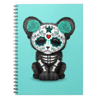 Blue Day of the Dead Black Panther Cub Spiral Notebook