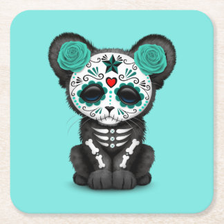Blue Day of the Dead Black Panther Cub Square Paper Coaster