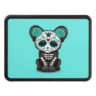 Blue Day of the Dead Black Panther Cub Trailer Hitch Cover