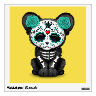 Blue Day of the Dead Black Panther Cub Wall Sticker