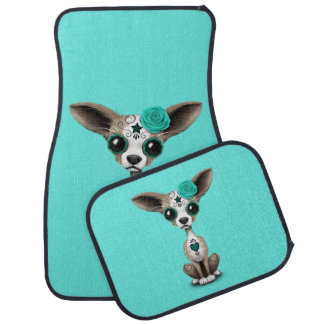 Blue Day of the Dead Chihuahua Car Mat