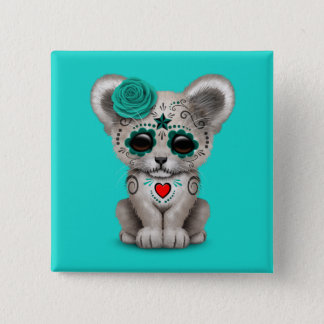 Blue Day of the Dead Lion Cub 2 Inch Square Button