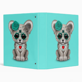 Blue Day of the Dead Lion Cub 3 Ring Binder