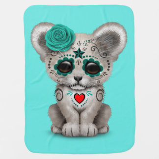 Blue Day of the Dead Lion Cub Baby Blanket