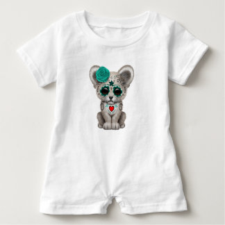 Blue Day of the Dead Lion Cub Baby Romper