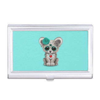 Blue Day of the Dead Lion Cub Business Card Holder