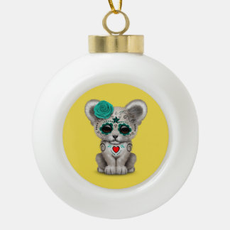Blue Day of the Dead Lion Cub Ceramic Ball Christmas Ornament