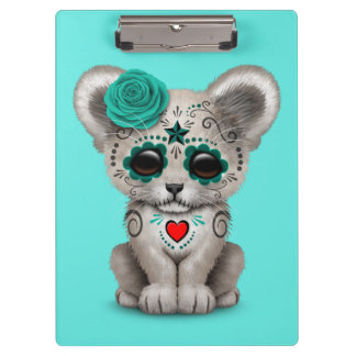 Blue Day of the Dead Lion Cub Clipboard