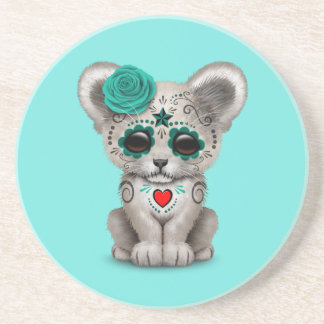 Blue Day of the Dead Lion Cub Coaster