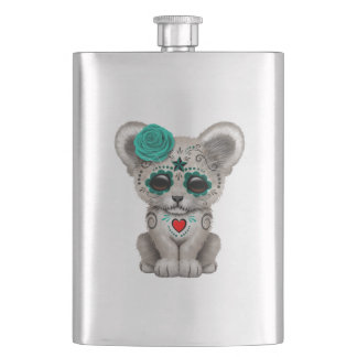 Blue Day of the Dead Lion Cub Hip Flask