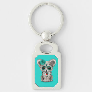 Blue Day of the Dead Lion Cub Keychain