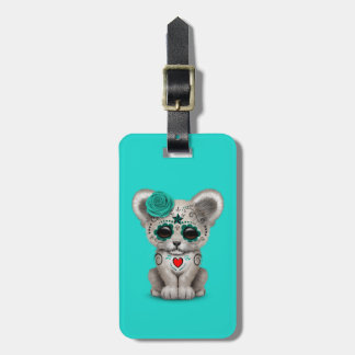 Blue Day of the Dead Lion Cub Luggage Tag